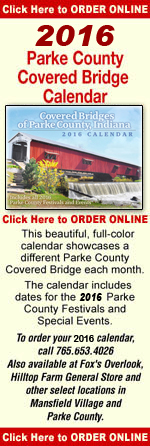 Get your copy of the 2015 Parke County Covered Bridge Calendar.  Call 765-653-4026 or click here to order online.