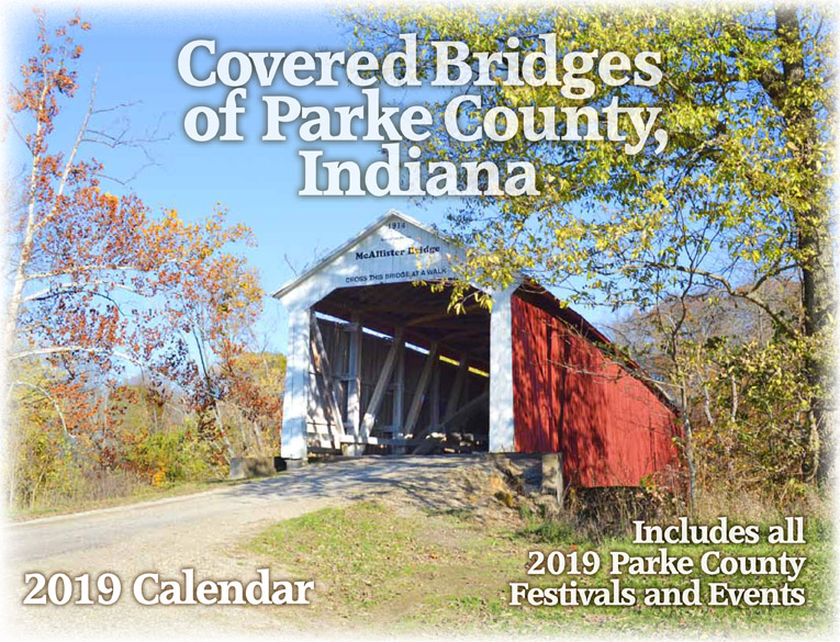 Get your copy of the 2019 Parke County Covered Bridge Calendar.